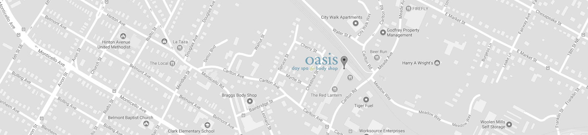 oasis day spa & body shop 221 Carlton Road Charlottesville, VA map
