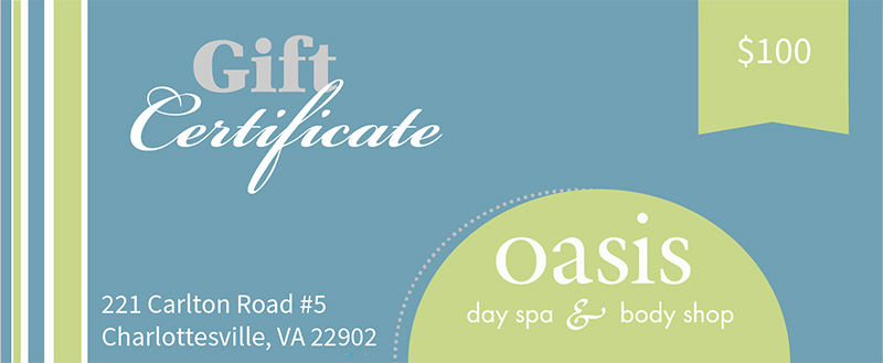 Gift Certificate Oasis Day Spa & Body Shop Charlottesville VA